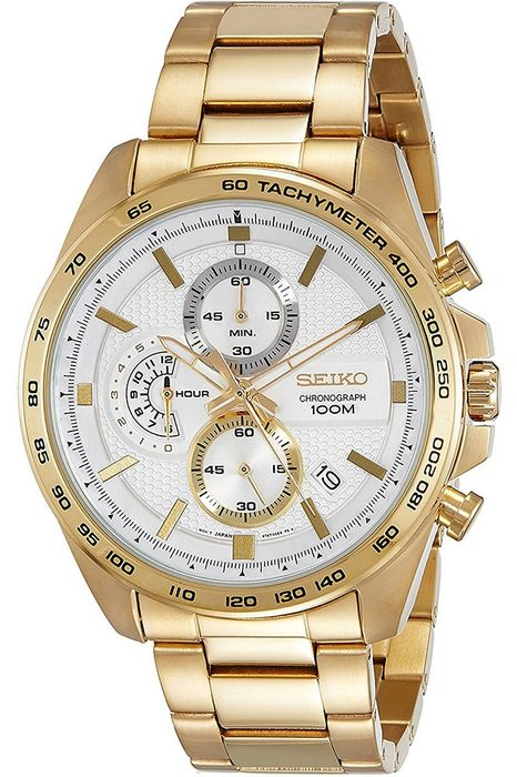 Seiko - 18 Gold Plated Chronograph Date White Dial - Herren - 2011-heute
