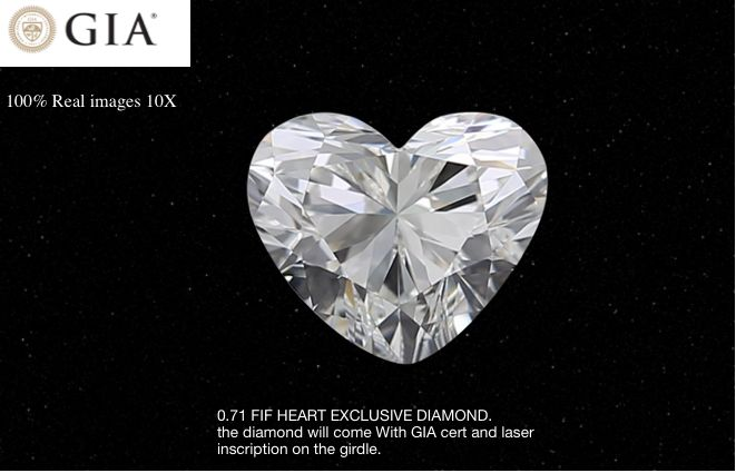 1 pcs Diamant - 0.71 ct - Cœur - F - IF (pas d'inclusions)