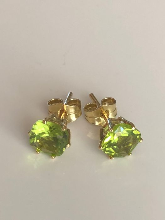 18 kt. Yellow gold - Earrings - 3.09 ct Peridot