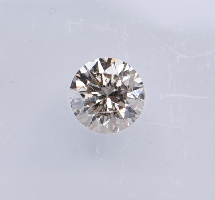 1 pcs Diamant - 0.36 ct - Rond - fancy light brown - SI2, No Reserve Price!