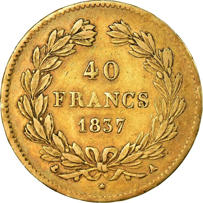 France - 40  Francs 1837-A Louis Philippe I - Or