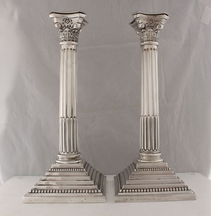 Candlestick, (30 cm) (2) - .925 silver, Silver - Hayes & Co, Birmingham - England - 1910