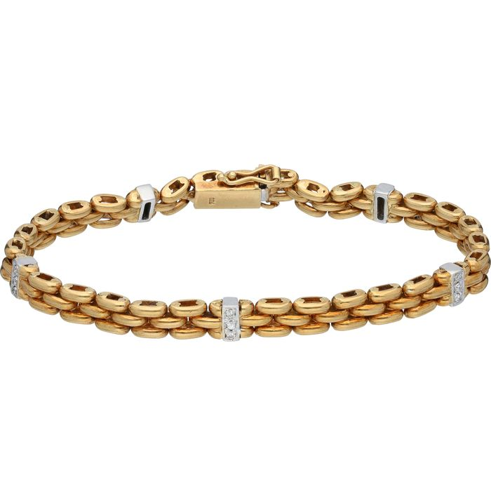 18 kt. Gold - Bracelet - 0.15 ct Diamond