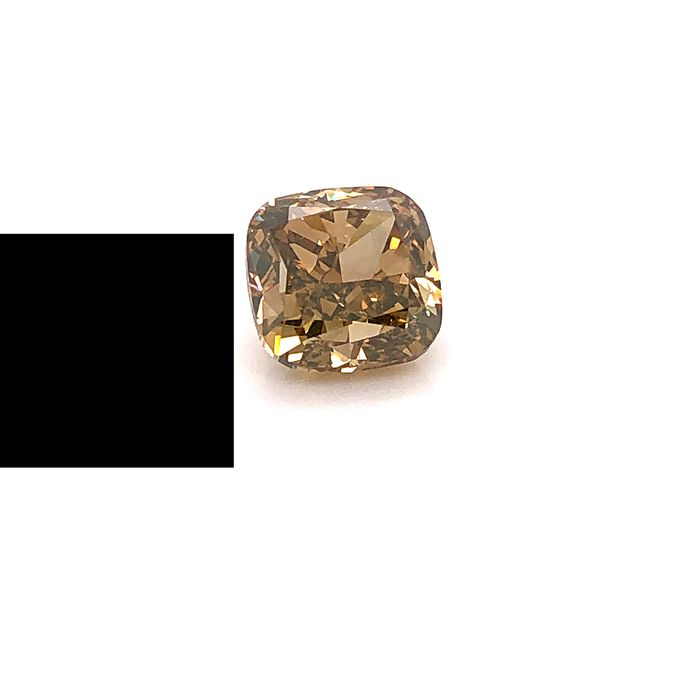 1 pcs Diamante - 4.03 ct - Almofada - fancy dark yellowish brown - VS2