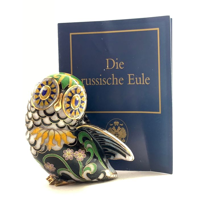 House of Faberge & Franklin Mint  - The Imperial Palace Cloissoné Collection - The Muscovy Owl - .999 (24 kt) goud, Emaille, Porselein