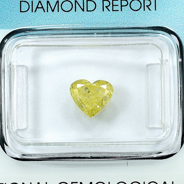 Diamant - 1.04 ct - Hart - Natural Fancy Yellow - I1 - NO RESERVE PRICE