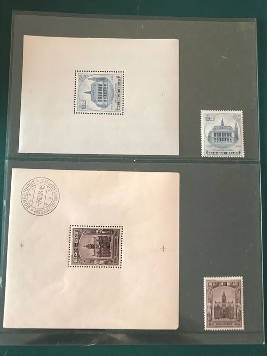 Belgium 1936 - Block and stamps Borgerhout and Charleroi - OBP / COB Blok 5A/6A en 436/437
