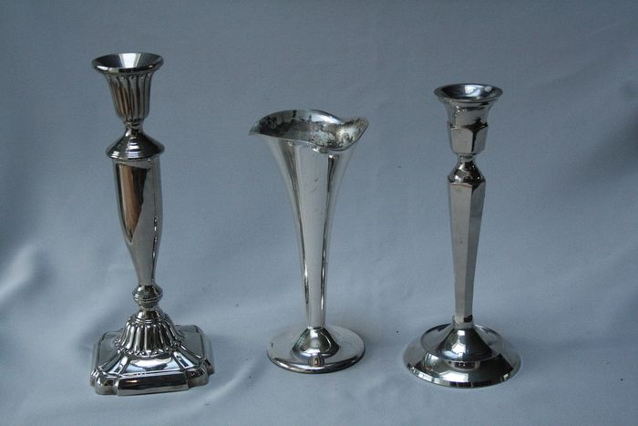 3 silver-plated vases for decoration on the Christmas table - Silverplate