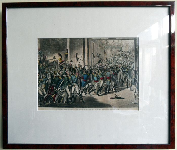 Napoleon's return from Elba, at the Tuilliën in Paris, February 1815 - colored aquatint in frame - 19th century