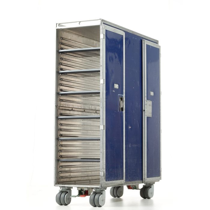 Driessen aircraft interior system - KLM Airplane trolley (recent model) & 6 trays - Double size flight trolley