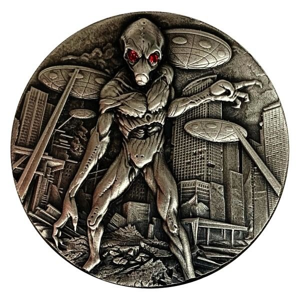 Ciad - 10.000 Francs 2018 Republic du Tchad Silver Antique Alien Invasion - 2 oz - Argento
