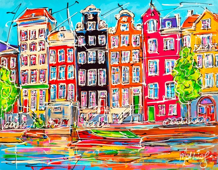 Mathias - Canal of Amsterdam, coored houses