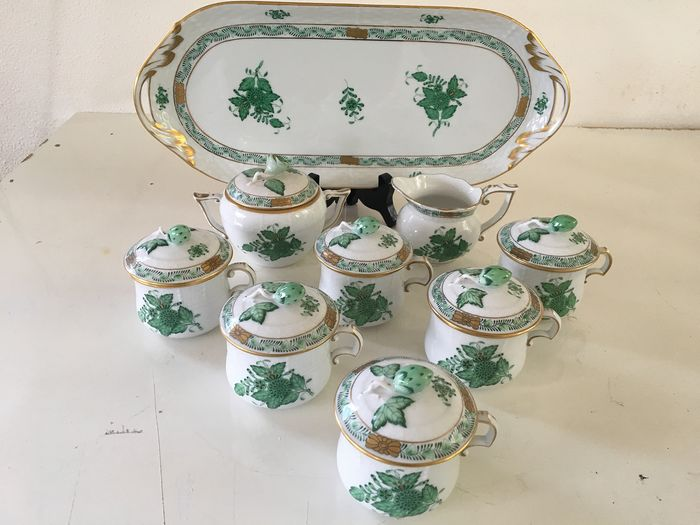 Herend - A mocha / coffee service from the bouquet Apponyi green (15) - Porcelain
