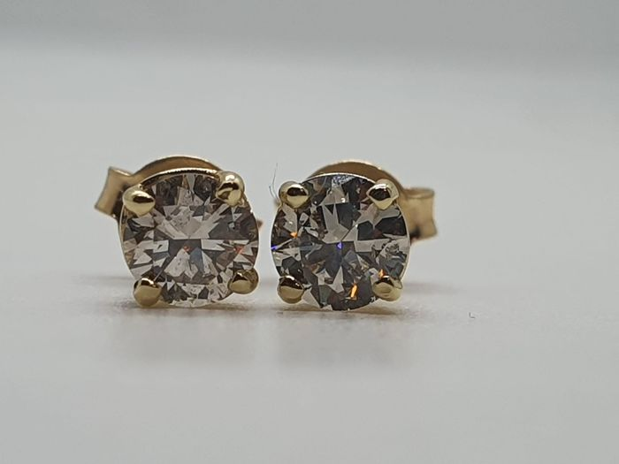 Light Brown - 14 quilates Oro amarillo - Pendientes - 0.61 ct Diamante