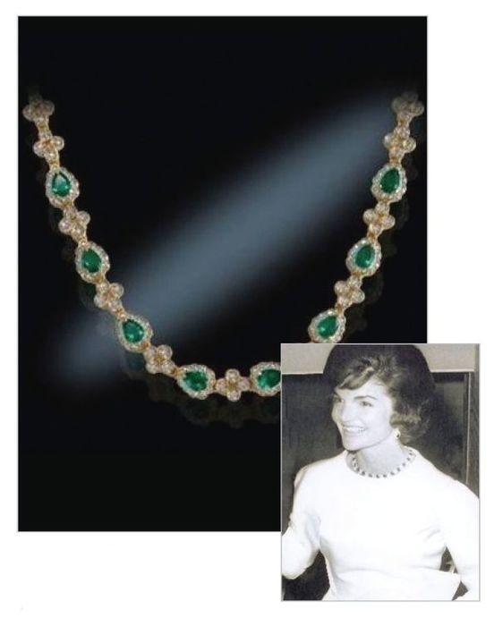 Jacky Kennedy Onassis by Camrose & Kross simulated emeralds elegant necklace, a Christmas gift from - Necklace