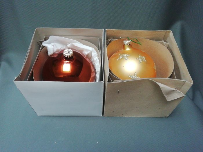 2x glass blown gold and bronze colour glass Christmas bauble