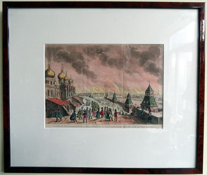 Napoleon discussing burning Moscow, seen from the Kremlin - colored aquatint in frame - 19th century