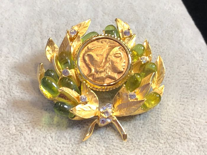 Camrose & Kross Gold-plated - early very rare coin and glass cabochon brooch