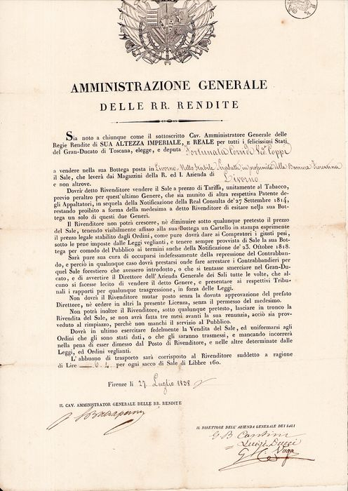 Documents; Official Announcement / License for Sales of Tobacco in Tuscany - 1838