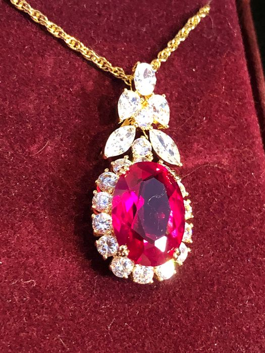 Camrose & Kross Gold-plated - Jacqueline Kennedy long statment ruby crystal necklace