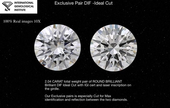 2 pcs Diamonds - 2.04 ct - Brilliant, IDEAL CUT -EXEXEX Hearts and Arrows - D (colourless) - IF (flawless)