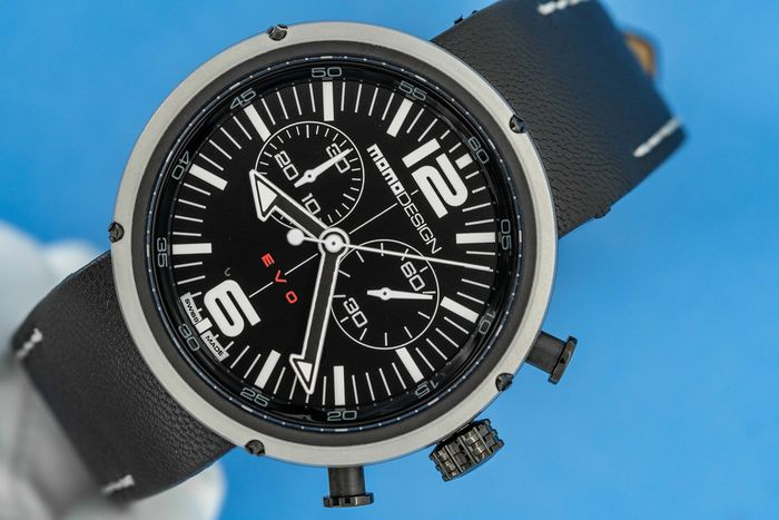 MomoDesign - Chronograph Watch EVO Black and White Dial Black Leather Strap Swiss Made - MD1012BS-53 - Heren - Brand New