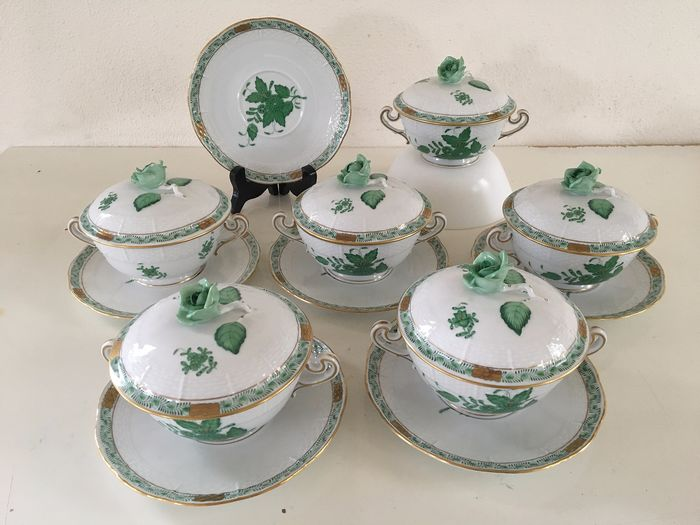 Herend - A series of 6 soup bowls with a lid of bouquet Apponyi green (12) - Porcelain