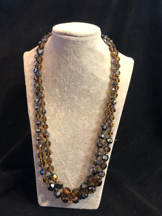 Gold-plated - long Sherman crystal double stand necklace