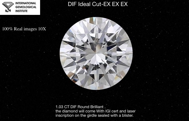 1 pcs Diamonds - 1.03 ct - Brilliant, IDEAL CUT -EXEXEX  - D (colourless) - IF (flawless)