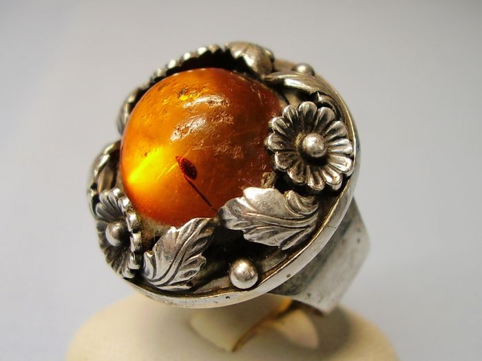 Nils Eric From, Dänemark - 925 Amber, Silver - Ring - 18.00 ct Amber