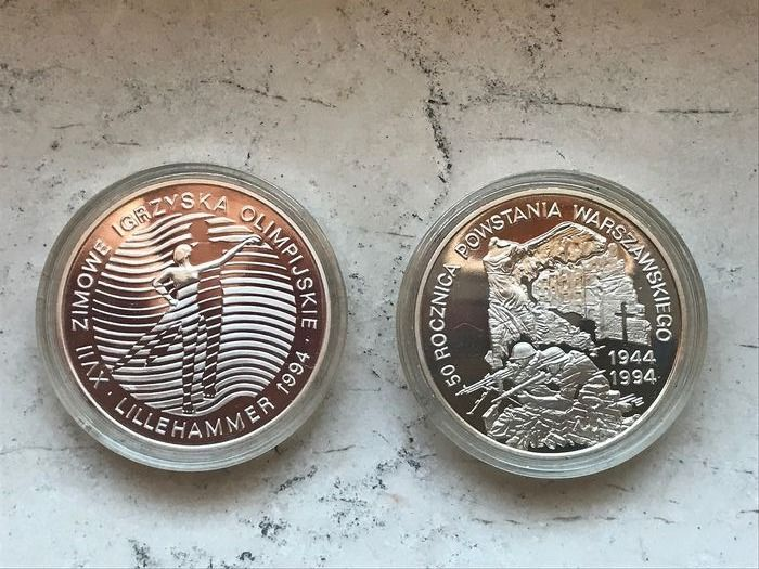 Pologne - 300.000 Zlotych 1993 'XVIII Winter Olympics - Lillehammer' +   300.000 Zlotych 1994 'Warsaw Uprising' (2 coins)  - Argent