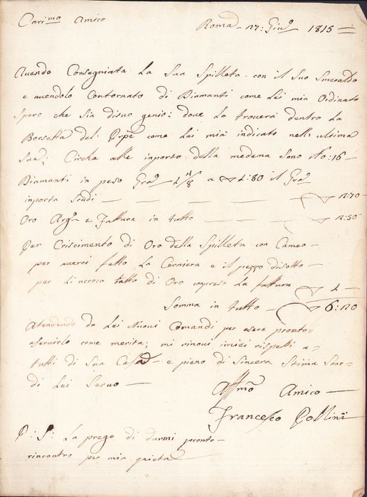 Francesco Pollini Italian Jeweler - Manuscript; Costs and Information about Jewelry and Diamonds, from Rome - 1815