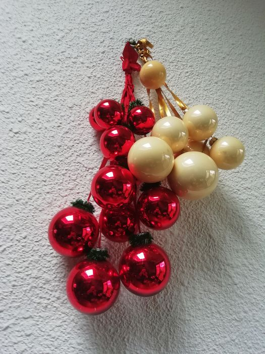 2 sets of antique glass baubles in bunches