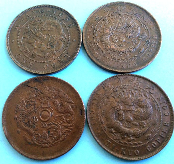 Chine - 4 copper coins - Qing dynasty - Kuang Hsu era (1875-1908) - various mints