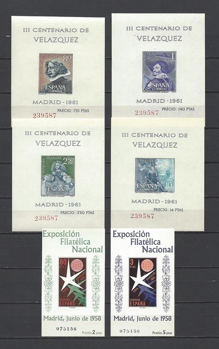 Spain 1958/1961 - Brussels and Velázquez mini-sheets with same numbering - Edifil 1222/23 + 1344/47