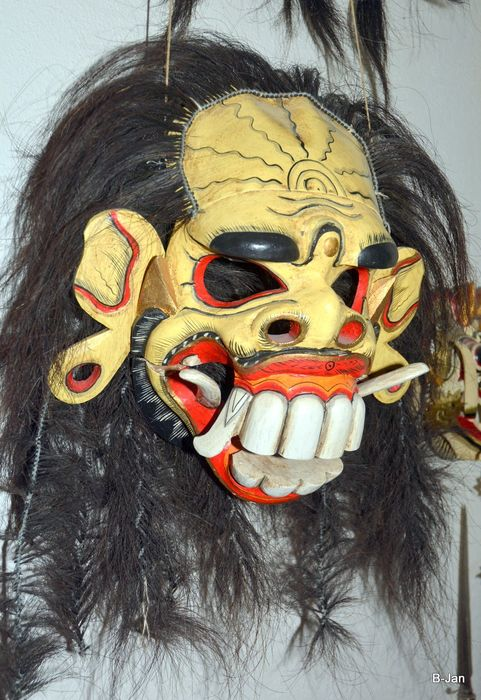 Dance mask (1) - Animal hair, Bamboo, Leather, Wood - Rangda - Bali, Indonesia