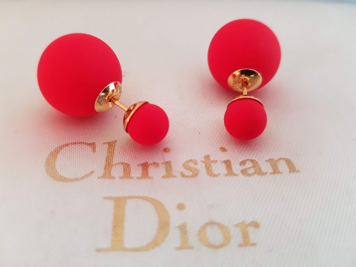 Christian Dior - faux red pearl stylish tribal  Earrings