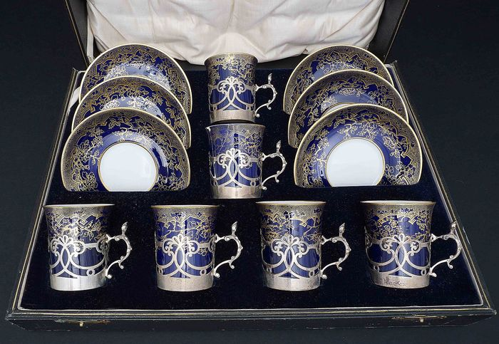 Set of 6 Porcelain Cups with Silver Baskets - .925 silver - R F Mosley & Co (active 1910-1931) - U.K. - 1928