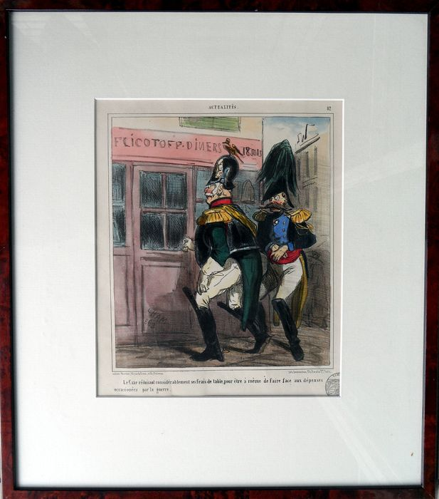 The Tsar; hand-painted lithograph - framed litho; - 19th century