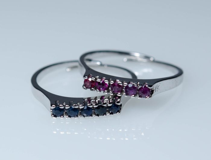 835 Silver - 2 rings with natural Sapphires and Rubies