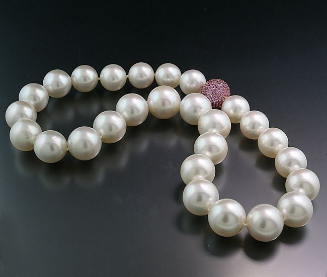 Pink gold, South sea pearls - Necklace - 5.20 ct South Sea pearls round 14.1-17 mm white Luxury Collier Australia 750 gold top quality