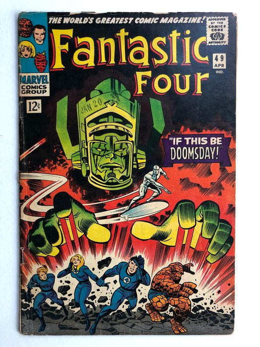 Fantastic Four #49 - 2nd Appearance Of The Silver Surfer - 1st Full Appearance of Galactus - Lower Grade - Major Key Book!! - Broché - EO - (1966)