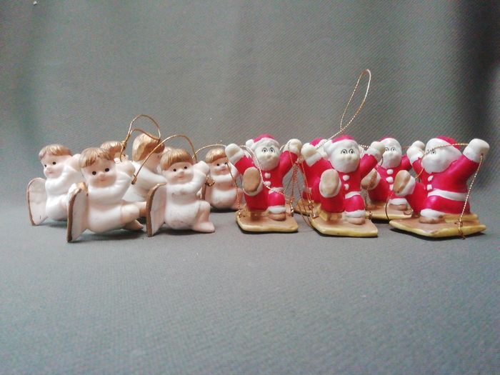 Ceramic Angels and Father Christmas figures for stringing up