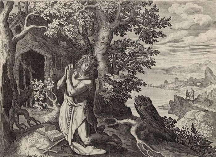 Maerten de Vos (1532-1603) after, Joan Sadeler (1550-1600)  - The Hermit Hilarion