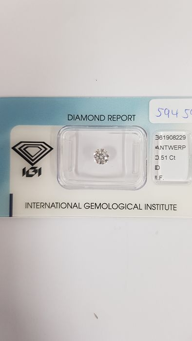 "1 pcs Diamant - 0.51 ct - Brillant - D (farblos) - I.F   ""IDEAL CUT ROUND BRILLIANT"""