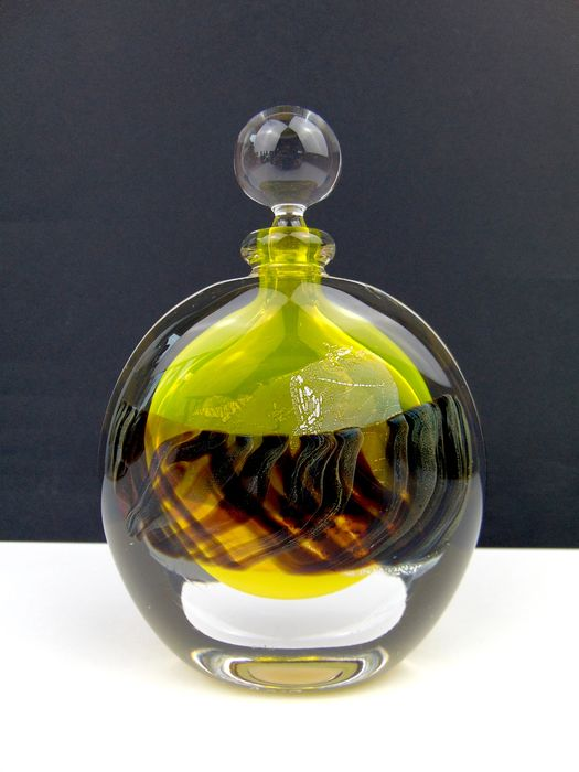 Maxence Parot  - Single Bottle Yellow Transparent Ribbon and Silver - Glass