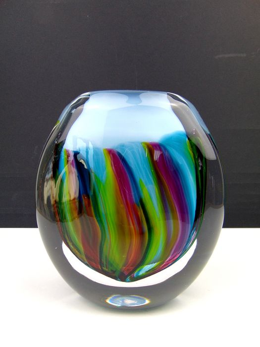 "Maxence Parot  - Solid single vase ""Flamboyant"" on opaline 1.5kg - Glass"
