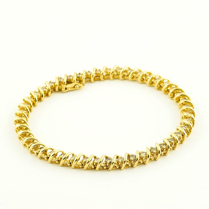 Riviere - 12,22 gr. - (H-I/SI1-SI2) - 18 kt. Yellow gold - Bracelet - 2.42 ct - Diamonds