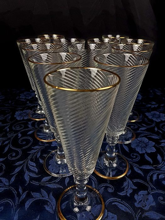 Fratelli Fumo - Gorgeous Featelli Crystal and Gold Smoke Set - Italy - (12) - Crystal, Gold