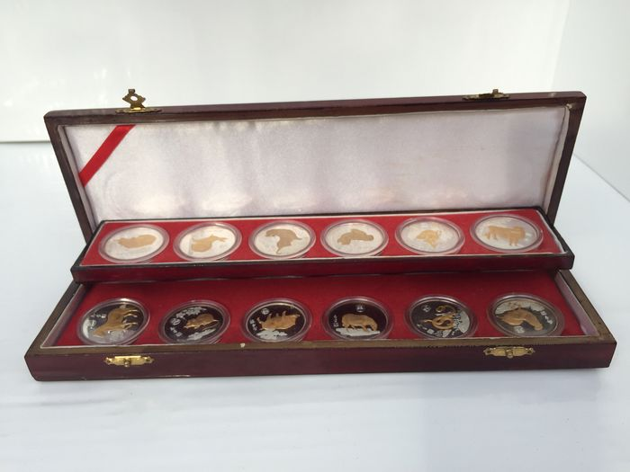 Chine - Set of the Chinese zodiac commemorative token 1989 - gold plated